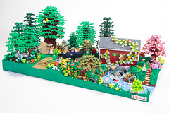 Friends in Time (Brickadier General) Tags: lego friends early 1900s camping minidoll covered bridge scala animals ford model t river landscaping rebrick contest