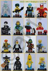 LEGO 71013 Minifigures Series 16 (KatanaZ) Tags: lego71013 collectibleminifiguresseries16 icequeen desertwarrior cyborg cutelittledevil spookyboy hiker wildlifephotographer kickboxer scallywagpirate penguinboy rogue dogshowwinner mariachi spy bananaguy babysitter lego minifigures minifigs