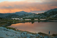 Smoke Settling over Thousand Island Lakes (jennneal818) Tags: ansel adams wilderness ca california yosemite backpacking hiking fire smoke orange sunset thousand island lakes lake jmt john muir trail reflection dusk summer wild adventure 2016