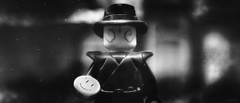 Tonight, A Comedian Died (delgax) Tags: lego miniature minifigure minifigures minifig custom watchmen rorschach toyphotography toy toys comic comics comicbook dc dccomics comedian smiley delgax blackwhite