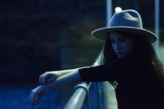 XXII (Rubn T.F.) Tags: girl woman cold blue bridge portrait hat musician winter