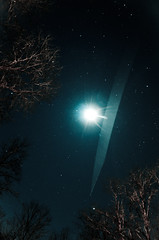 Cold (Truebritgal) Tags: longexposure blue ohio moon cold tree nature night lens star contrail astro fisheye nighttime astrophotography vignette lunar 30secs darkturquoise wintersville nikod7000 prooptic8mmf35fisheyelens