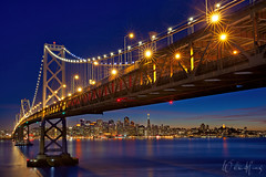 "October Orange (Willie Huang Photo) Tags: sf sanfrancisco california city longexposure night landscape cityscape scenic baybridge bayarea giants bluehour worldseries ""skyline"""
