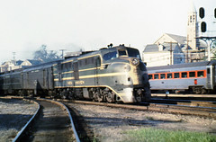 New Haven Railroad DER-1c ALCO DL-109 locomotive # 0756, is seen leading an eastbound passenger train into the station at Providence, Rhode Island, mid 1950's, Mac Seabree Collection (alcomike43) Tags: old railroad color classic station vintage ties switch photo coach diesel platform tracks engine slide trains nh historic photograph rails depot newhaven locomotive rea ballast providencerhodeisland rightofway dieselengine turnout alco mainline passengertrains roadbed diesellocomotive baggagecar 0756 newhavenrailroad dieselelectriclocomotive nhrr railwayexpressagency dl109 blocksignal conventionaljointedsectionrail der1c pullmanstandardworcesterbuiltstainlesssteellightweightcoach