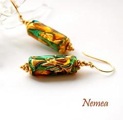 Nemea Earrings (gemwaithnia) Tags: uk green wales gold cymru earrings muranoglass vermeil gemwaithniajewellery