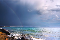 only compo (Opera.Pink - d s g n) Tags: sea espaa storm color sol beach rain arcoiris clouds canon mar lluvia spain sand agua colours playa andalucia arena noviembre cielo nubes tormenta splash almera cabodegata rocas montaas 2012 orilla tierra raimbow marveiga
