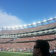 With 70,000 of Our Closest Friends... (AGeekMom) Tags: football buffalobills massachusetts nfl patriots raytheon veteransday gillettestadium newenglandpatriots foxborough tweetup meetray ht4h