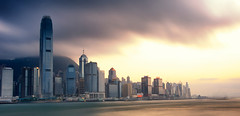 Clouds v. Sun (DPGold Photos) Tags: china city travel sunset panorama sun water river hongkong harbor nikon asia cityscape harbour dpgoldphotos
