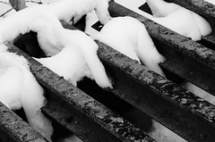 Cattle gate (JenS_Photography) Tags: ranch winter blackandwhite snow canada abstract calgary monochrome architecture rural cow gate cattle zwartwit farming september alberta trap ranching anagram cochrane waiparous barcountry