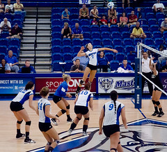 IPFW women's volleyball - outside attack (rikki480) Tags: college ball outside jump women university air attack indiana indoor swing spike volleyball leap fortwayne ipfw