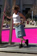 The Water Really Was Pink (phillytrax) Tags: city pink urban woman usa philadelphia fountain america spring unitedstates pennsylvania pa lovepark philly robertindiana jfkplaza cityofbrotherlylove lovesculpture ellenphillipssamuelmemorialfountain