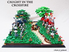 CCCX Caught in the Crossfire (Mark of Falworth) Tags: trees castle grass lego battle scene medieval knights ccc merchant moc
