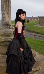 7D0077b (Waiting for Heathcliff) Lady in Black with wine coloured basque - Whitby Goth Weekend 3rd Nov 2012 (gemini2546) Tags: nov black goth week length coloured 3rd black 2470 canon sigma hair hair 7d lens lovely lady basque skirt gloves wine elbow whitby 2012 victorian extentions
