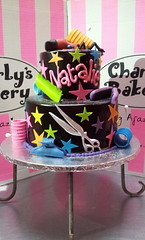 2-tier Wicked Chocolate cake iced in black chocolate icing, decorated with fondant hair styling designs, silver scissors, hair curlers, comb, hair dryer, hair iron (Charly's Bakery) Tags: birthday ladies cake hair chocolate capetown angels bakery charlys charleysbakery charlysbakery wickedchocolate charliesbakery