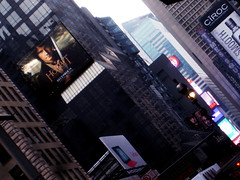 Hobbits Billboard near Times Square NYC Midtown 7000 (Brechtbug) Tags: martin freeman bilbo baggins the hobbit an unexpected journey film movie poster standee billboard 49th street broadway new york city lord rings j r tolkien part 1 one serial creature fangs vampire scary horror terror halloween fright shadow cape fashion 2012 nyc 12072012 art mural american flag gollum smeagol
