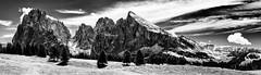 Giants... (Ody on the mount) Tags: anlsse berge dolomiten gegenlicht gipfel italien langkofel panorama plattkofel sdtirol urlaub wanderung bw monochrome sw castelrotto trentinoaltoadige it