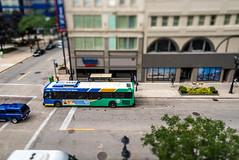 Itty-Bitty-City Bus (Sharky.pics) Tags: urban city wisconsin tiltshift july cityscape 2016 miniature milwaukee downtown