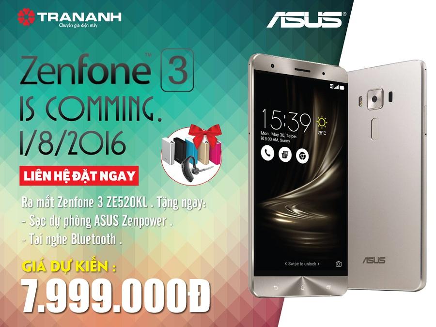 Đặt mua trước Zenphone 3 ZE520KL nhận ngay ưu đãi lớn