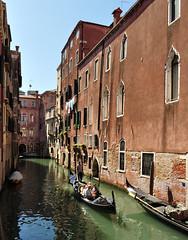 Gondola, Venice (bikerchisp) Tags: venice italy ital italia venise canals lagoon bridges gondola holiday vacation europe adriatic sea water waterways streets blue sky bluesky sunshine bikerchisp
