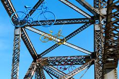 Bike Bridge Art {Explored} (Garry9600) Tags: lumix fz200 winnipeg manitoba canada cans2s summer elmparkbridge bridge art bike bicycles sky explore 1000views