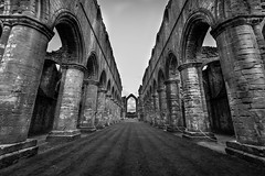 It's Fountains Abbey again. (ian.emerson36) Tags: abbey ripon northyorkshire yorkshire pillars architecture arches windows heritage listed england nationaltrust monastery blackwhite canon 1018mm stonework monks leadinglines