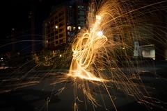 LIGHT EM UP UP UP (Jennunyan) Tags: steel wool light lights lighting night black background sony fire sparks spark blackbackground