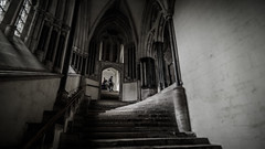 Stairs to Chapter House  Wells Cathedral (seanfarr) Tags: stone shadows somerset windows olympus steps staircase architecture arches pillars monastic blackwhite history historic heritage religious religion uk england