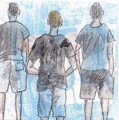 # 248 (04-09-2016) (h e r m a n) Tags: herman illustratie tekening bock oosterhout zwembad 10x10cm 3651tekenevent tegeltje drawing illustration karton carton cardboard boys jongens back rug rucke ruggenfiguur ruckenfigur