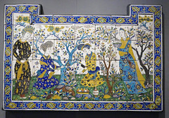 Panneau a la joute poetique - ceramic, Iran, Isfahan, mid-17th Century (Monceau) Tags: ceramic panel garden poetry joust 17thcentury iran