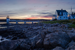 Sunset at Marshall Point Light, Port Clyde, Maine (87457-87459) (John Bald) Tags: maine stgeorge portclyde marshallpointlight marshallpoint sunset dusk twilight shore ocean pinkclouds