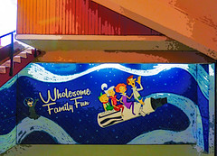Wholesome Family Fun (Steve Taylor (Photography)) Tags: jetsons marker pen sharpie galaxy stars space art digital cartoon graffiti streetart mural happy fun smile smiling boy girl lady man woman newzealand nz southisland canterbury christchurch city texture festival spectrum ymca