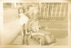 Arriving from there to here (sctatepdx) Tags: snapshot vernacular vintagetoy vintagedoll oldsnapshot vintagetoycar vintagesnapshot