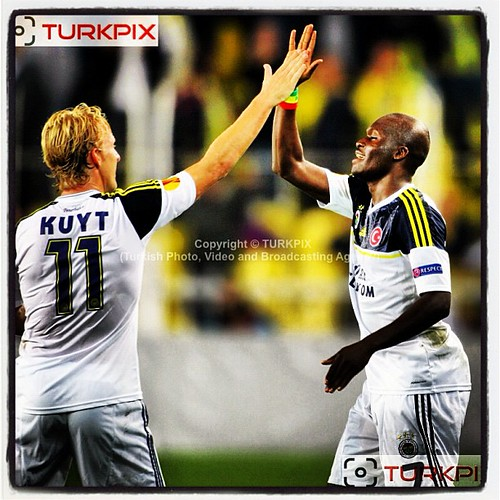 Fenerbahce's(L-R) Dirk Kuyt, Moussa Sow celebrates his goal during their UEFA Europa League Group Stage Group C soccer match Fenerbahce between AEL Limassol at Sukru Saracaoglu stadium in Istanbul Turkey on Thursday 08 November 2012. Photo by TURKPIX #fen