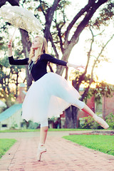 DANCING IN THE EVENING GLOW (BRITTNEY LEIGHANN {photography & design}) Tags: trees ballet senior photoshop portraits evening design downtown glow fantasy lovely marypoppins majical canonrebelt2i