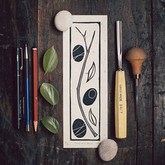 (sue.h) Tags: wood leaves pen pencils print afternoon stones sunday pebbles blockprint linoleum lino sticksandstones carvingtools