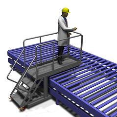 Conveyer supported cantilever Inspection platform