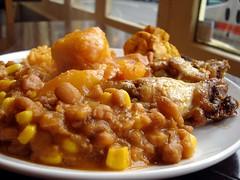 Buffet plate at Victoria Island Lounge, Croydon, London CR0 (Kake .) Tags: food africanfood westafricanfood african buffet buffetfood beans chicken yams plantain victoriaisland victoriaislandlounge stgeorgeswalk croydon london cr0 nigerianfood