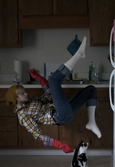 while doing the washing up (peculiarnothings) Tags: portrait selfportrait fall kitchen self fly levitation clean glove vat float