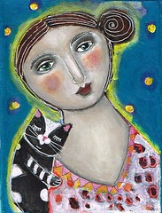 """LOVE MY KITTY"" #3 (kitty jujube) Tags: portrait art modern cat painting folk mixedmedia contemporary small kitty canvas acrylicpaint outsiderfolk"