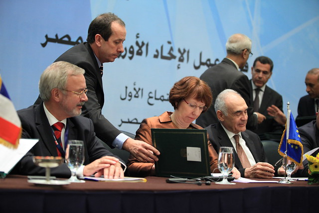 President of the European Investment Bank, Werner Hoyer, High Representative Catherine Ashton & Egyptian Foreign Minister Mohamed Kamel Ali Amr during the EU-Egypt Task Force signing ceremony
