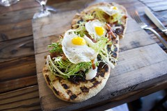 Breakfast flatbread at Haddingtons (kcyalao) Tags: food breakfast atx cremefraiche quailegg haddingtons