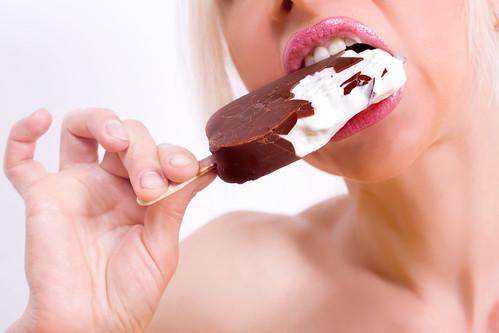 girl eating chocolate ice-cream