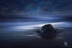 """Blue Velvet"" (S.D.G Photographie) Tags: ocean longexposure sea seascape nature night photoshop canon stars landscape island nightscape creative ile creation montage 7d paysage plage runion toiles milkyway sdg iledelarunion reunionisland poselongue"