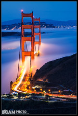 Dancing Gateway (Aaron M Photo) Tags: sf sanfrancisco california road longexposure morning bridge blue red cars nature beauty fog sunrise golden movement nikon highway glow purple dancing hiking towers twinkle hike goldengatebridge le goldengate gateway carlights sfbay alignment ca101 ggb nikond800 siliconvalleyphotography sfphotography aaronmeyersphotography