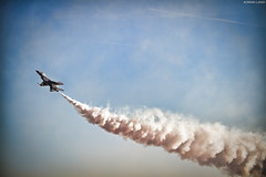 Smoke On! (~Clubber~) Tags: airplane flying fighter slow aircraft aviation military smoke nevada flight jet airshow demonstration f16 falcon thunderbirds viper usaf nellisafb highalpha