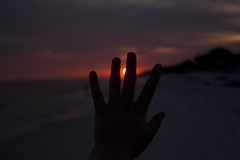 the spaces in between (MalloryWilliams) Tags: ocean sunset sea sky sun beach water weather clouds hands pretty hand gulf finger fingers sillhouette