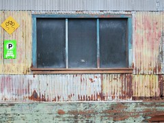 Post-industrial corrugated architecture (Ruth and Dave) Tags: old building window sign wall vancouver colours shed weathered granvilleisland postindustrial corrugatediron dwwg msh1013 msh101311