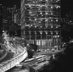 Garden Road at Night (Functionary) Tags: hongkong central  ilford voigtlnder perkeo colorskopar  colorsix bwfp