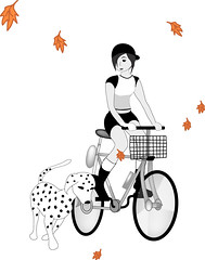 Biker Rider (subtleandsubversive) Tags: 2002 fall bicycle fun recreation dalmatian 2012 twotone originaldrawing