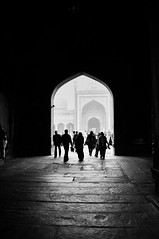 Towards The Radiant [EXPLORED] (eternal_ag0ny) Tags: street new light shadow white man black silhouette walking photography nikon shot candid delhi nikkor masjid jama 18200mm d300s